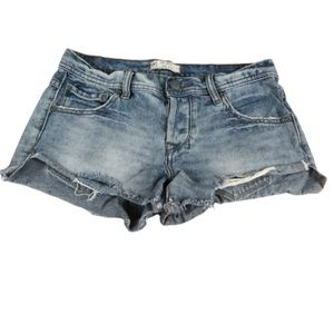 Free People Light Blue Distressed Jean Shorts
